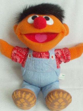 Adorable Old McDonald Talking 'Ernie' Farmer Sesame Street 1995 Plush Toy